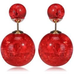 Ohrringe Double Bead - Kristall Rot