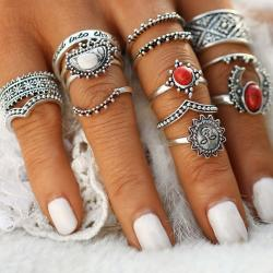 Set - Ringe Red - Silber